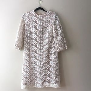 Vintage White Lace Shift Dress sz L